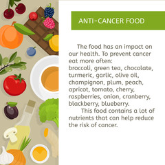Food prevention of oncological diseases. Fruits, vegetables, berries, olive oil and green tea against cancer