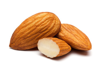 Photo sur cadre textile Graine, aromate Almonds isolated on white.