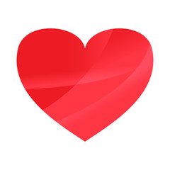 Abstract Red heart on white wallpaper background