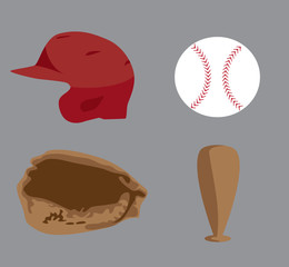 Baseball images of a helmet, bat, baseball, and mitt vector clip art