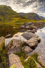 Llyn Idwal lake SNowdonia National Park Wales lies within Cwm Idwal in the Glyderau mountains of Snowdonia