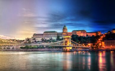 Budapest timelapse day night Fotobehang