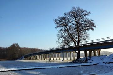 Bridge on the lake Kirsajty, Masuria, Poland