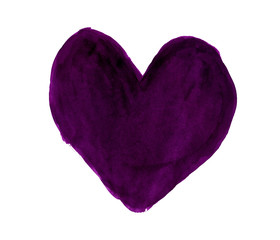 Deep purple heart painted with gouache
