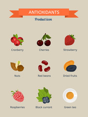 Antioxidants. Set of icons: cranberries, strawberries, cherries, nuts, beans, dried fruit, raspberry, black currant, green tea