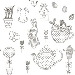 Vector seamless pattern Easter theme.