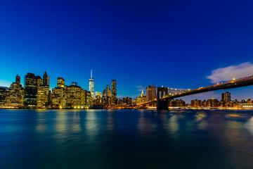 Sunset in Lower Manhattan skyline