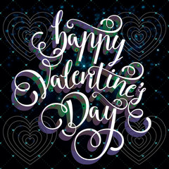 lettering by hand happy Valentines day greeting card backgroun