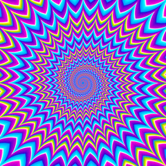 The pulsing spirals. Motion illusion.