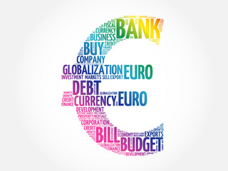 Euro sign word cloud collage, business concept background