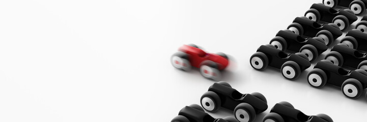 The fastest race car, business and leadership concepts, 3d rende