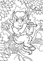 cute satyr playing a flute while sitting on a branch