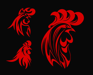 Abstract Elegant Red Rooster Head Symbol Logo In Black Background