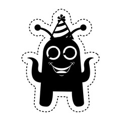 monster comic character with party hat icon vector illustration design