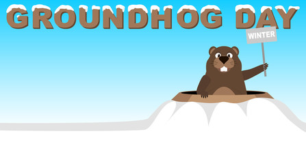 Groundhog climbed out of the hole with a sign winter. Caption sheltered snow Groundhog Day. Groundhog Day