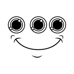 monster face emoticon icon vector illustration design