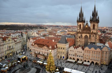 Architecture from Prague in Christmas and cloudy sky