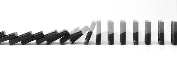game of dominoes falling business strategy isolated background