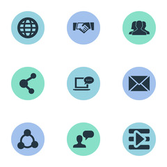 Set Of 9 Simple Social Icons. Can Be Found Such Elements As Agreement, Letter, Group And Other.