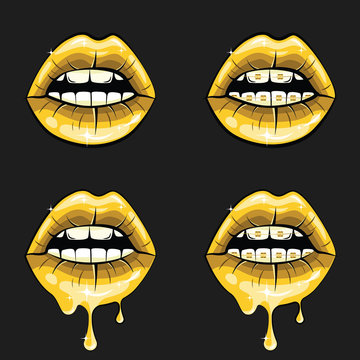 Set of Sexy Golden Lips, lipstick, shiny letters. Vector illustration