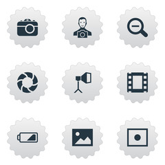 Set Of 9 Simple Photographer Icons. Can Be Found Such Elements As Flame Instrument, Apparatus Photographer, Registration And Other.