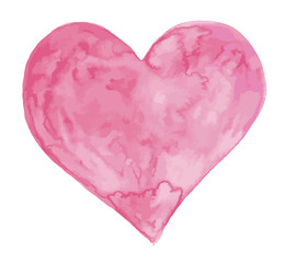 Watercolor heart art isolated on a white background