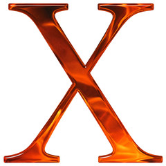 Uppercase letter X - the extruded of glass with pattern flame, i