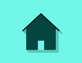 Vector modern private house building icon with long shadow