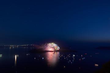 volcano fiesta fireworks Santorini