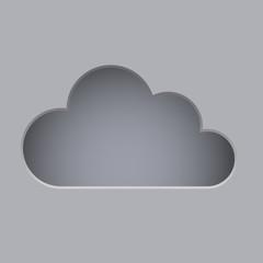 Cut cloud shape grey vector background.