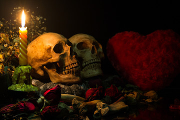 Valentine Love of two Skulls with candle light