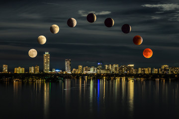 Total blood moon lunar eclipse/time lapse of Lunar Eclipse observed in the Miami sky on September 27, 2015