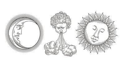 Sun, Moon, Wind vector