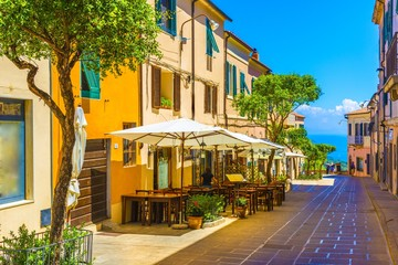Wall Mural - Street of Capoliveri village in Elba island, Tuscany, Italy, Europe.