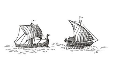 Galley and Drakkar  vector