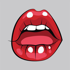 Cartoon fashion illustration with red sexy female lips. Beauty fashion blog concept.