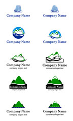 logo mountain nature sea house sale set label vector