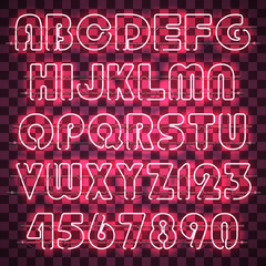 Glowing pink neon alphabet with letters from A to Z and digits from 0 to 9. Glowing neon effect. Every letter is separate unit with wires, tubes and holders and can be combined with other.