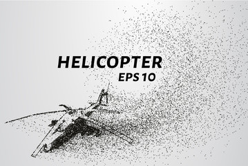 The helicopter of the particles. The silhouette of the helicopter consists of small circles and dots. Vector illustration