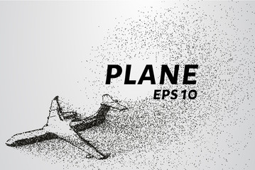 The plane of the particles. The plane climbs and the wind it rips small pieces. The plane from points. Vector illustration