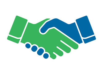 Handshake icon in blue and green color