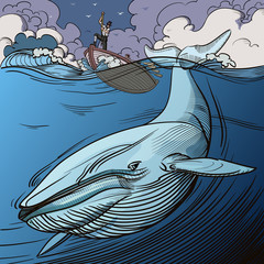 Blue whale being hunted by old time whalers book style line illustration.