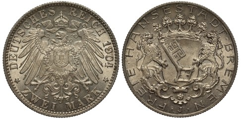 Germany, German coin two mark 1904, Free City Bremen, imperial eagle with collar of the order and shield on breast, crown with ribbon on top, two lions holding shield with a big key on it, trees on to