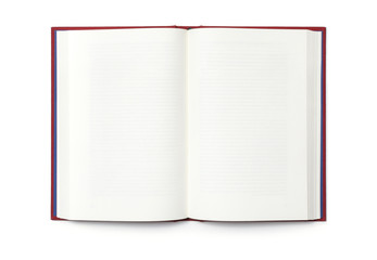 Blank open book isolated, top view