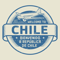 Stamp or tag with airplane and text Welcome to Chile