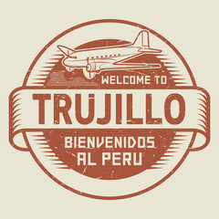 Stamp or tag with airplane text Welcome to Trujillo, Peru