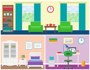 Interior – living room, bedroom, office place. Flat vector house design with furniture including armchair, window, cupboard, bed, wardrobe, bedside table, desk, laptop and lamps. Illustration.