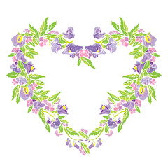 Floral frame in heart shape with flowers, isolated on white back