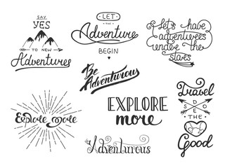 Set of adventure and travel vector hand drawn unique typography