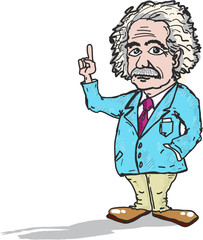 Professor Einstein cartoon caricature vector illustration